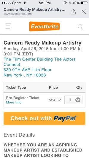 Im teaching a class!!! Camera Ready Makeup Artistry Seminar and Live Demo is being held at The Center Building on Sunday April 26 2015 from 1pm-3pm. Pre Register Price $25 or $35 at the door. If you cant attend no worries, but please share this post!   http://www.eventbrite.com/e/camera-ready-makeup-artistry-tickets-15877292409  WHETHER YOU ARE AN ASPIRING MAKEUP ARTIST AND ESTABLISHED MAKEUP ARTIST LOOKING TO SHARPEN YOUR SKILLS OR AN ACTOR THAT WANTS TO LEARN MORE ABOUT PREPARING YOURSELF TO LOOK YOUR BEST ON THE BIG SCREEN OR A FILM MAKER THAT IS INTERESTED ABOUT LEARNING A NEW SKILL THIS CLASS IS EXCELLENT FOR ANYONE WANTING TO LEARN MORE ABOUT THE SECRETS OF CAMERA READY MAKEUP! LEARN KIT BASICS HOW TO FIND WORK CHARACTER TECHNIQUES AND A LIVE ON CAMERA DEMO BY INDUSTRY PROFESSIONAL CHELSEA PAIGE! THE CLASS IS 3 HOURS LONG AND YOU WILL BE PROVIDED WITH TAKE HOME MATERIALS!