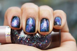 Purple nebula/galaxy nails