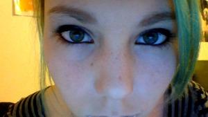 I used my Manly 180 eye shadow color set L'oreal mauve blush cover girl foundation random glitter cover girl lash blast mascara L'oreal carbon black eye liner (tube) L.A colors Grafix liquid eye liner