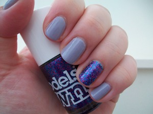 Butter London Muggins Nail Polish with Models Own Disco Mix glitter accent nail.  To read my review of the polishes please visit my blog:  www.mazmakeup.blogspot.com