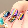 Zig-zag Rainbow Glitter Nails!