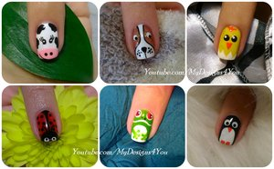 Animal Nail Art Vol.1 https://www.youtube.com/watch?v=xLfqyU4Imyo #mydesigns4you #nailart #nails #animalnails #easternails #puppynails #cownails #penguinnails #ladybugnails #frognails #chicknails