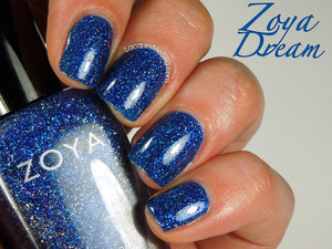 Zoya Dream, a blue jelly polish loaded with holographic glitter! More info can be found on my blog post: http://www.lacquermesilly.com/2014/03/03/opi-suzi-skis-pyrenees/