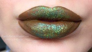 Lime Crime's Liquid Lipstick Velvetine in Trouble + Bh Cosmetics Lime Green Glitter + Violet Voss Teresa Glitter :)