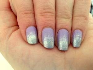 Lilac and Silver Ombre Nails