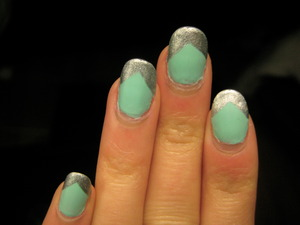 mint and silver chevron nails