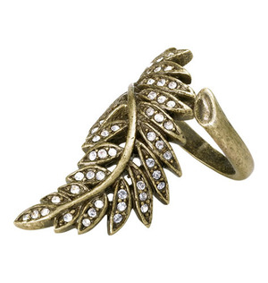 """mark Lingering Leaf Ring Fall for THIS look!  $18.00  Designed to look like it's floating right up your finger. Burnished brass with rhinestones. 1 1/2"""" L. sizes 7, 8"""