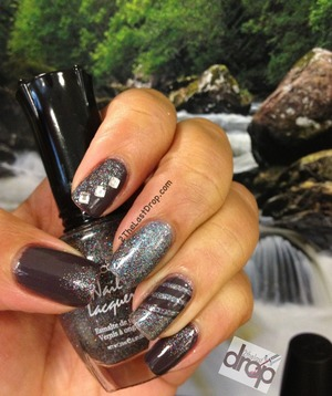"Rainforest Nails using holo glitter and striping tape. Sinful Colors ""Muse"" and Kleancolor ""Midnight Seduction"""