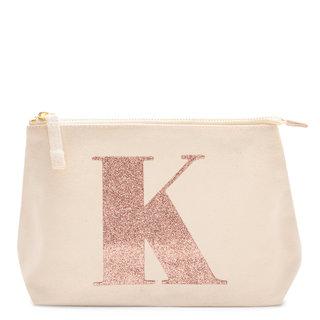 Rose Gold Glitter Initial Makeup Bag Letter K