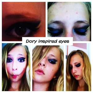 Just keep swimming! Dory inspired eyes! R.I.P Talia.P love you!