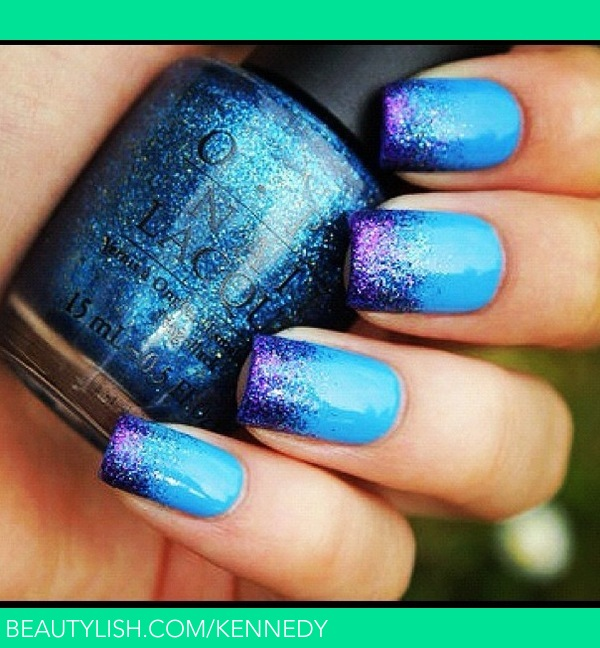 Sexy blue nails with glitter tips. | Stephanie K.\'s (kennedy) Photo ...