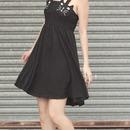 Cat Face Embellished Black Camisole Dress