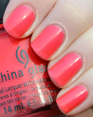 Flirty Tankini is a neon coral pink shimmer. Part of the Summer Neons Collection. This is 2 coats without top coat.  Full Blog Post: http://packapunchpolish.blogspot.com/2012/12/china-glaze-flirty-tankini.html
