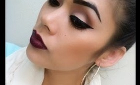 Deep Dark Plum Lips with Winged Liner