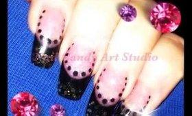 Black & Gold Glitter Manicure