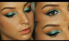 Teal, Orange & Gold Makeup Tutorial ♥