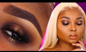 FULL FACE MAKEUP TUTORIAL -NUDE HALO GLAM /GLOSSY LIPS - Queenii Rozenblad