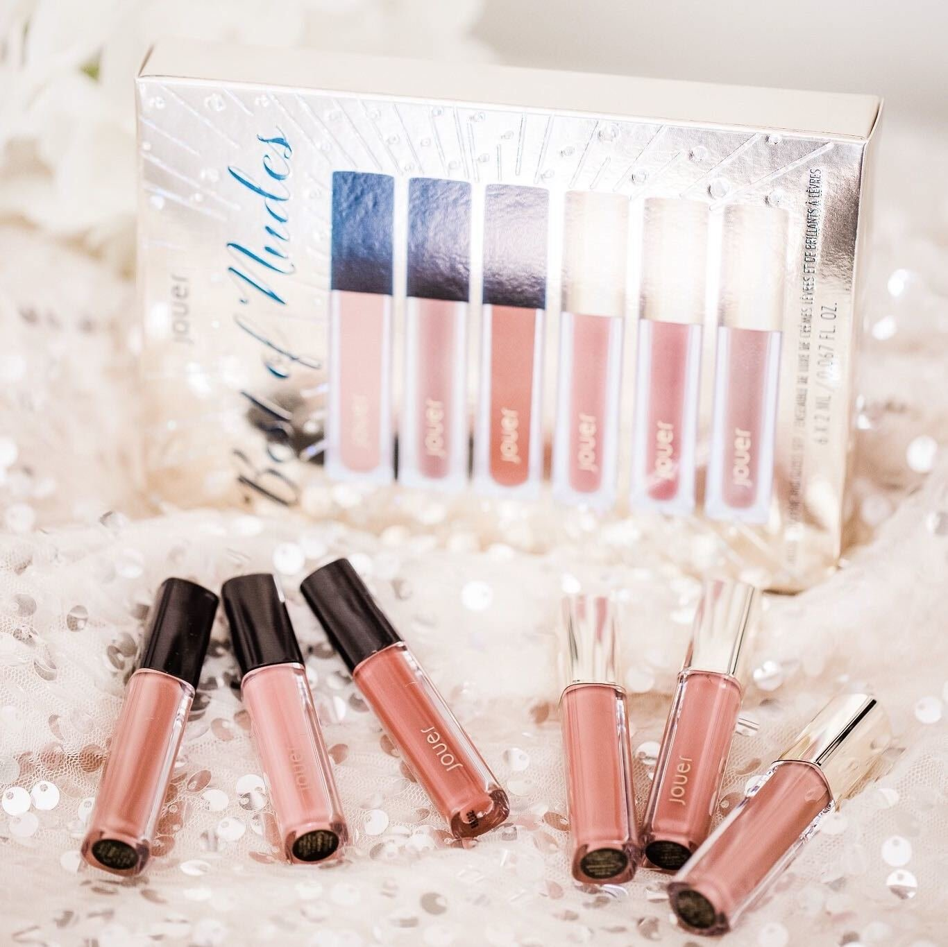 Alternate product image for Best of Nudes Deluxe Lip Creme and Gloss Set shown with the description.