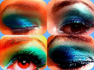 Emerald to teal to turquoise greens, deep blues and purples with teal shimmer liquid liner, navy blue shimmer liquid liner, baby blue pencil liner by tear ducts and silver liner on inner lash line