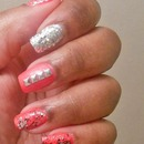 Neon Pink & Silver Nails
