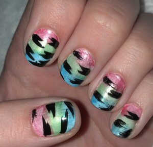 My version of Tiger Stripe Nails! Inspired by cutepolish.