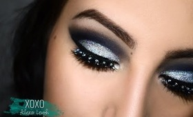NYE Makeup I Navy Blue Cut Crease with Silver Glitter