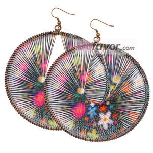 Multicolor Flowers Copper Hook Woven Thread Dangle Earrings.jpg