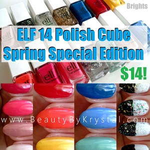 This cube is special edition for Spring, only $14! Complete review and swatches: http://www.beautybykrystal.com/2013/05/elf-essential-14-piece-nail-cube.html