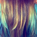 Ombré Blonde and Turquoise