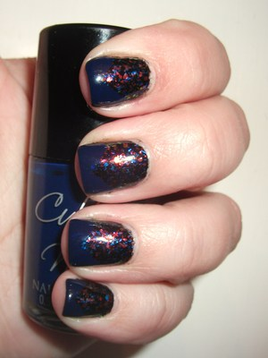Finger Paints Asylum over FP Black Expressionism with a Cult Nails Time Traveler chevron http://polishmeplease.wordpress.com