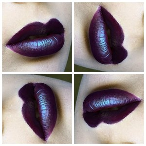 MAC Blue Brown pigment over OCC lip tar in Black Dahlia