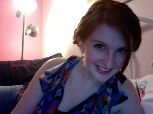 Berry lips, loose milkmaid braids and liquid liner