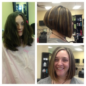 Haircut/hi lights before & after