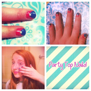 Look at these fun cute nails that are so easy to do! I did these on my friend Olivia and they were so easy! Just apply the pink NailPolish and then to a triangle of blue NailPolish. Then add a peril or a black or white dot in the center! And done! Easy as 1, 2, 3! Well try this with different colors and experiment! See you later!