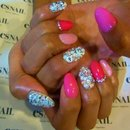 Pink and bling sexy nails
