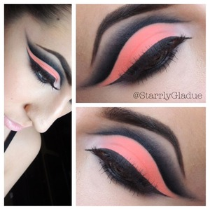 I am using MAC neo-orange pigment on the lid, with Prestige total intensity liner in the crease blended out with MAC carbon eyeshadow. Sugarpill tako shadow in the inner corner, and MAC blacktrack fluidline to create the winged liner <3