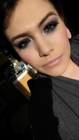 Purple and blue smokey eye with slight nude lip!