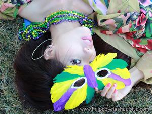 Wearing Elegant Lashes C748 Carnival Color Lashes and Elegant Lashes C842 Carnival Color Lashes   http://falseeyelashessite.com/blog/2012/02/17/festive-color-and-feather-false-eyelashes-for-mardi-gras/