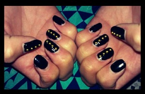 did my sisters nails for graduation! black with gold pearls to match her school colors! :)