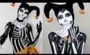 Skeleton Harley Quinn Halloween Makeup Tutorial