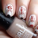 Rudolph Reindeer Cartoon Nail Art