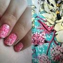 NAV | Pink & White Floral Nail Stamping Art
