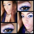 Pink Glitter with a Pop of Blue & Penelope Pink lips