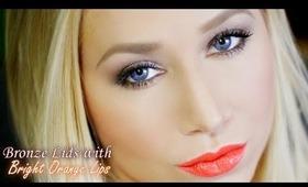 Smoldering Bronze Lids with Bright Orange Lips Makeup Tutorial