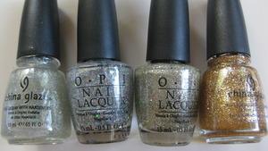 china glaze fairy dust / opi servin up sparkle / opi spark de triomphe / china glaze cleopatra
