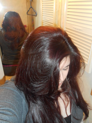 I used the L'Oreal Paris Healthy Look Creme 5R Medium Red Brown: Cherry Truffle