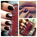 Brown-Gold Nailwear With Glitters