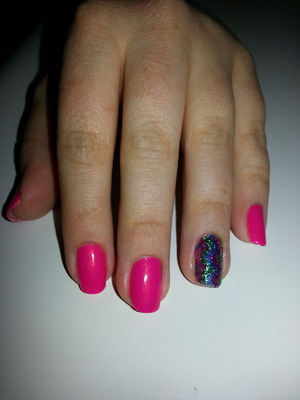 gel polish with glitter added