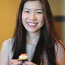 Beauty director Ning Chao with an adorable vanilla cupcake.