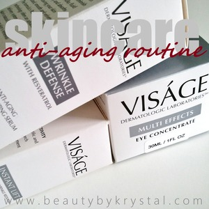"Visage Laboratories Multi Effects Eye Concentrate ""It immediately hydrates the skin and smooths out those finer lines I have underneath my eyes."" Wrinkle Defense Anti-Aging Moisturizing Serum ""On no-makeup days it helps to balance my skin and I actually don't use a facial lotion when I'm using this serum."" Instant Lift 90-second Wrinkle Reducer ""very photo friendly and gives off that pore-less and perfect skin effect.""  READ MORE: http://www.beautybykrystal.com/search/label/Visage"